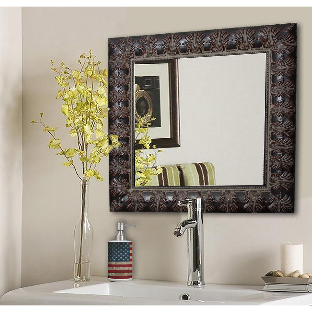 40 5 in x 40 5 in feathered accent square vanity wall mirror s049l the home depot. Black Bedroom Furniture Sets. Home Design Ideas