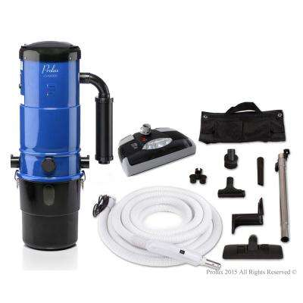 CV12000 Blue Central Vacuum Power Unit with Electric Hose and Black Power Nozzle Kit