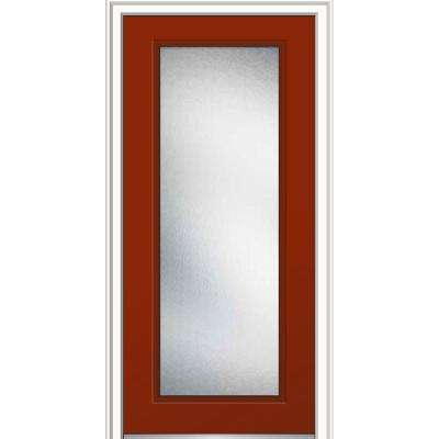 36 in. x 80 in. Micro Granite Glass Right-Hand Inswing Full Lite Decorative Classic Painted Steel Prehung Front Door