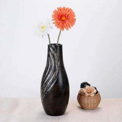 15 in. Tall Handmade Decorative Tear Drop Mango Wood Swirl Bottle Vase in Black