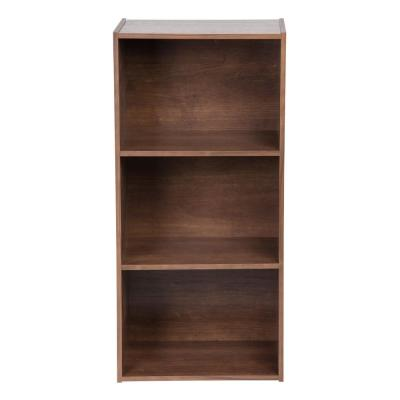 34.5 in. Dark Brown Faux Wood 3-shelf Standard Bookcase with Cubes