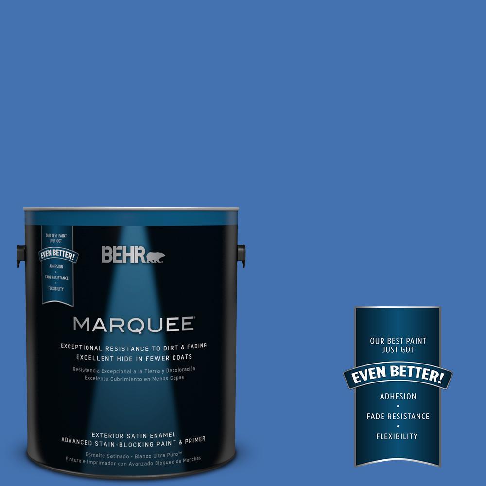 1 gal. #HDC-SM16-07 Croquet Blue Satin Enamel Exterior Paint