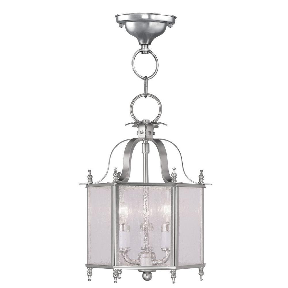 Livex Lighting Providence 3-Light Brushed Nickel Incandescent Ceiling Pendant