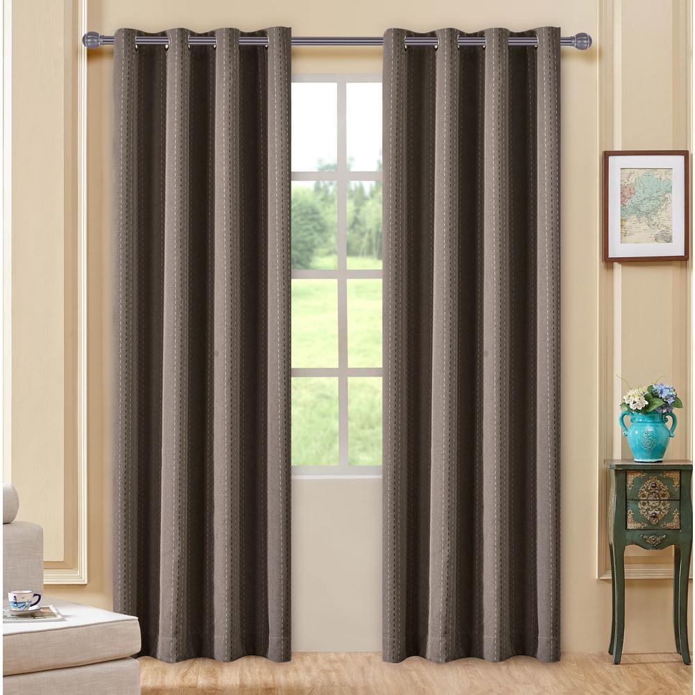 Lyndale Decor Murano 63 in. L x 54 in. W Room-Darkening Polyester Curtain in Walnut