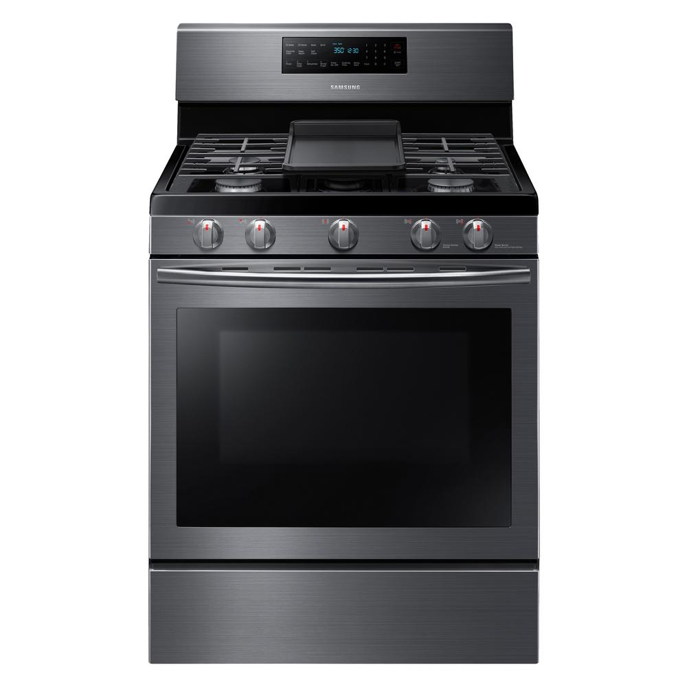 Samsung 30 in. 5.8 cu. ft. Gas Range with Self-Cleaning and Fan Convection Oven in Fingerprint Resistant Black Stainless, Fingerprint Resistant Black was $1199.0 now $798.0 (33.0% off)