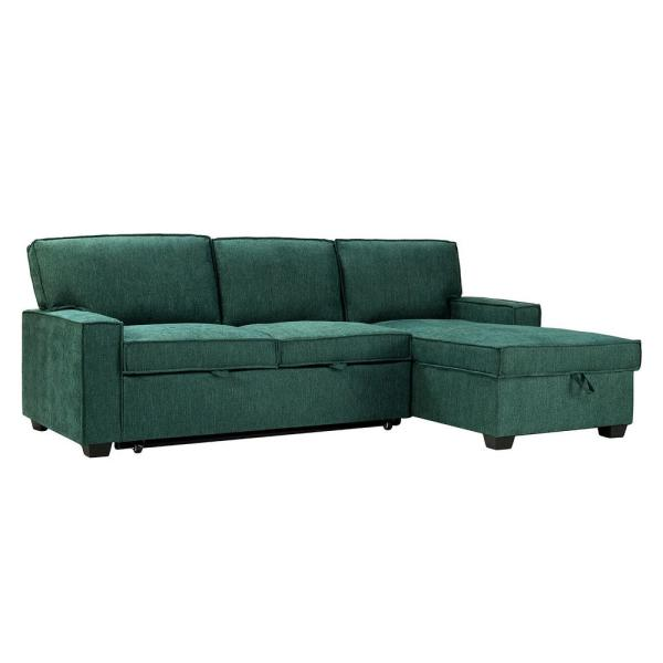 Zavier Teal Pull Out Sleeper Sectional