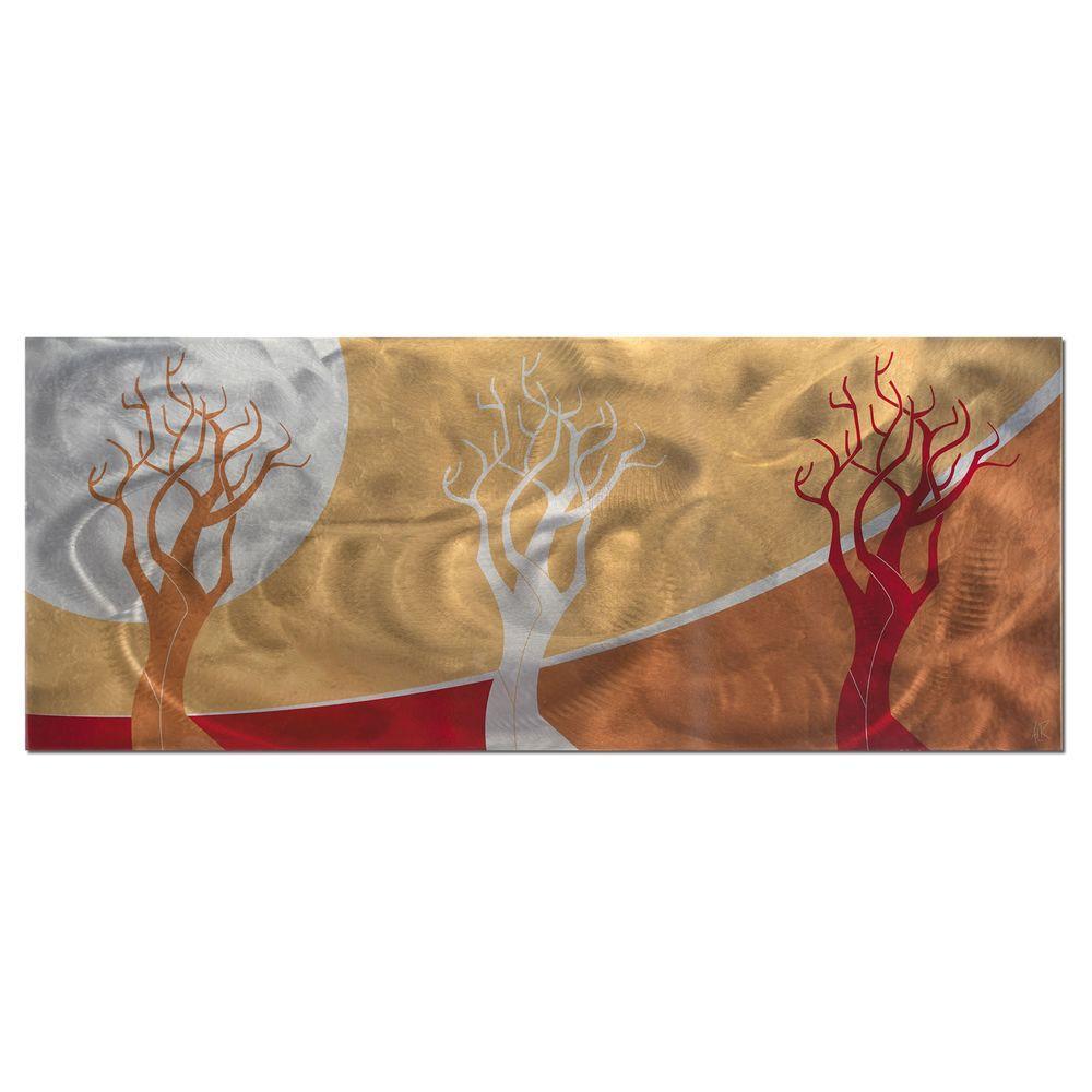 Brevium 19 in. x 48 in. Golden Seasons Metal Wall Art