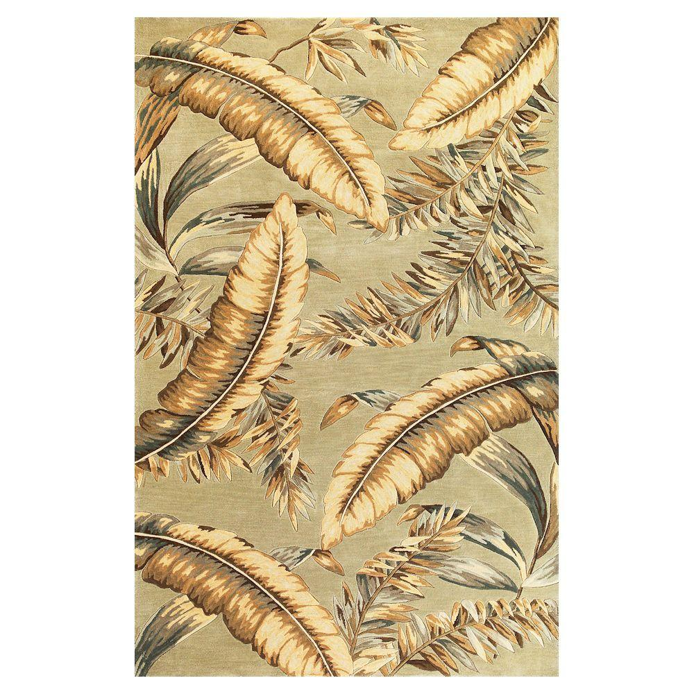 Kas Rugs Antique Ferns Green 3 ft. 6 in. x 5 ft. 6 in. Area Rug
