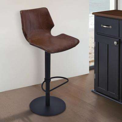 Zuma 21-31 in. Brown Faux Leather and Black Metal Finish Adjustable Swivel Barstool
