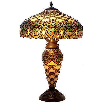 26 in. Arielle Multicolored Brown Table Lamp