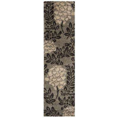 Florida Shag Smoke/Dark Brown 2 ft. x 11 ft. Runner Rug