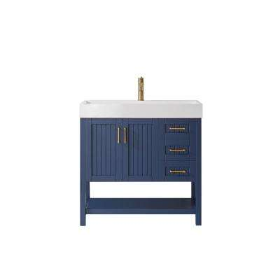 Pavia 36 in. Vanity in Blue with Acrylic Vanity Top in White with White Integrated Basin