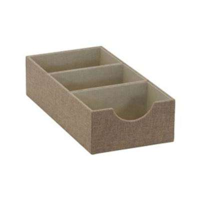 6 in. x 3 in. Oblong 3-Section Hardsided Tray in Latte