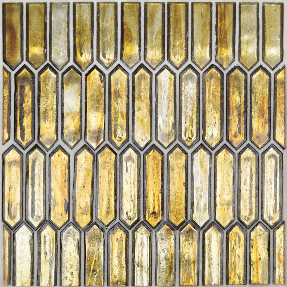 Ivy Hill Tile Fargin Amber Elongated Hexagon 12 in. x 10 in. x 7mm Polished Glass Mosaic Tile (0.82 sq. ft.)
