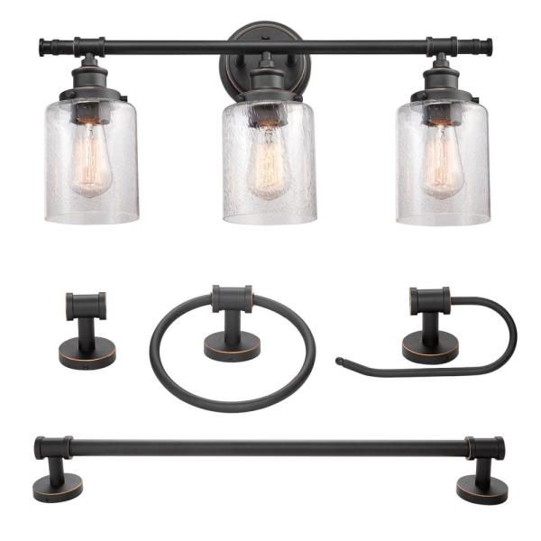 Camden 5-Piece All-In-One Bronze Bathroom Vanity Light Set