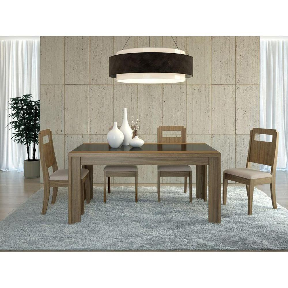 Manhattan Comfort Eastern Walnut And Black Gloss Dining Table
