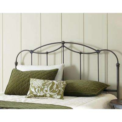 Affinity California King-Size Metal Headboard Panel with Straight Spindles and Detailed Castings in Blackened Taupe
