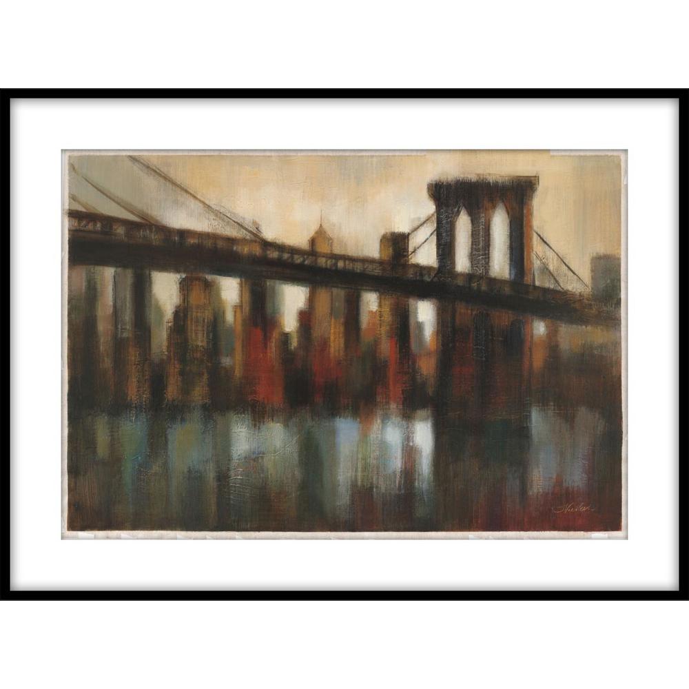 9.75 in.x11.75 in. ''NY Bridge'' Framed Wall Art