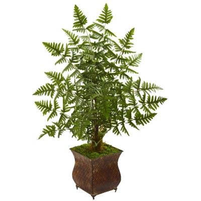 Indoor Ruffle Fern Artificial Palm Tree in Metal Planter