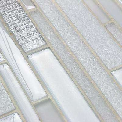 Midtown Sense Textile Silver 11-7/8 in. x 12-5/8 in. Glass Wall Tile (1.04 sq. ft.)
