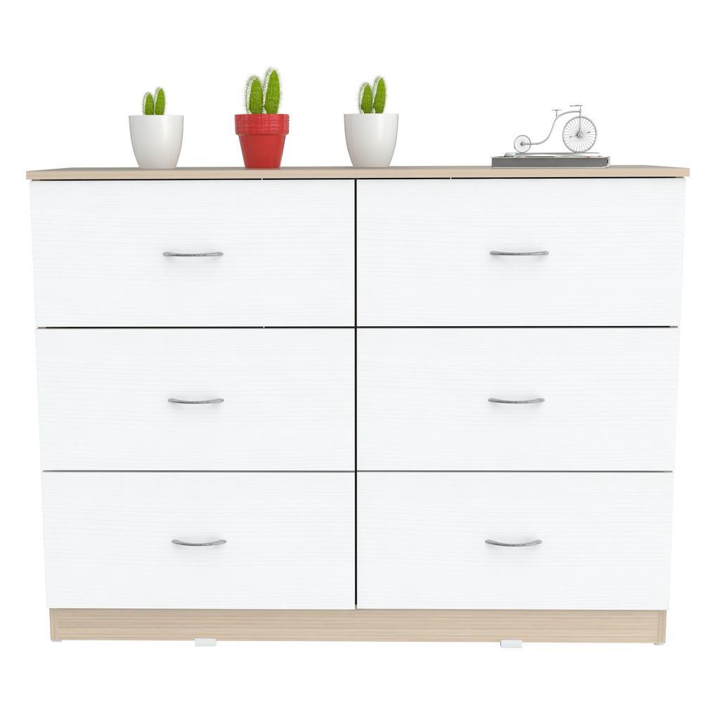 Laricina 6-Drawer White Dresser