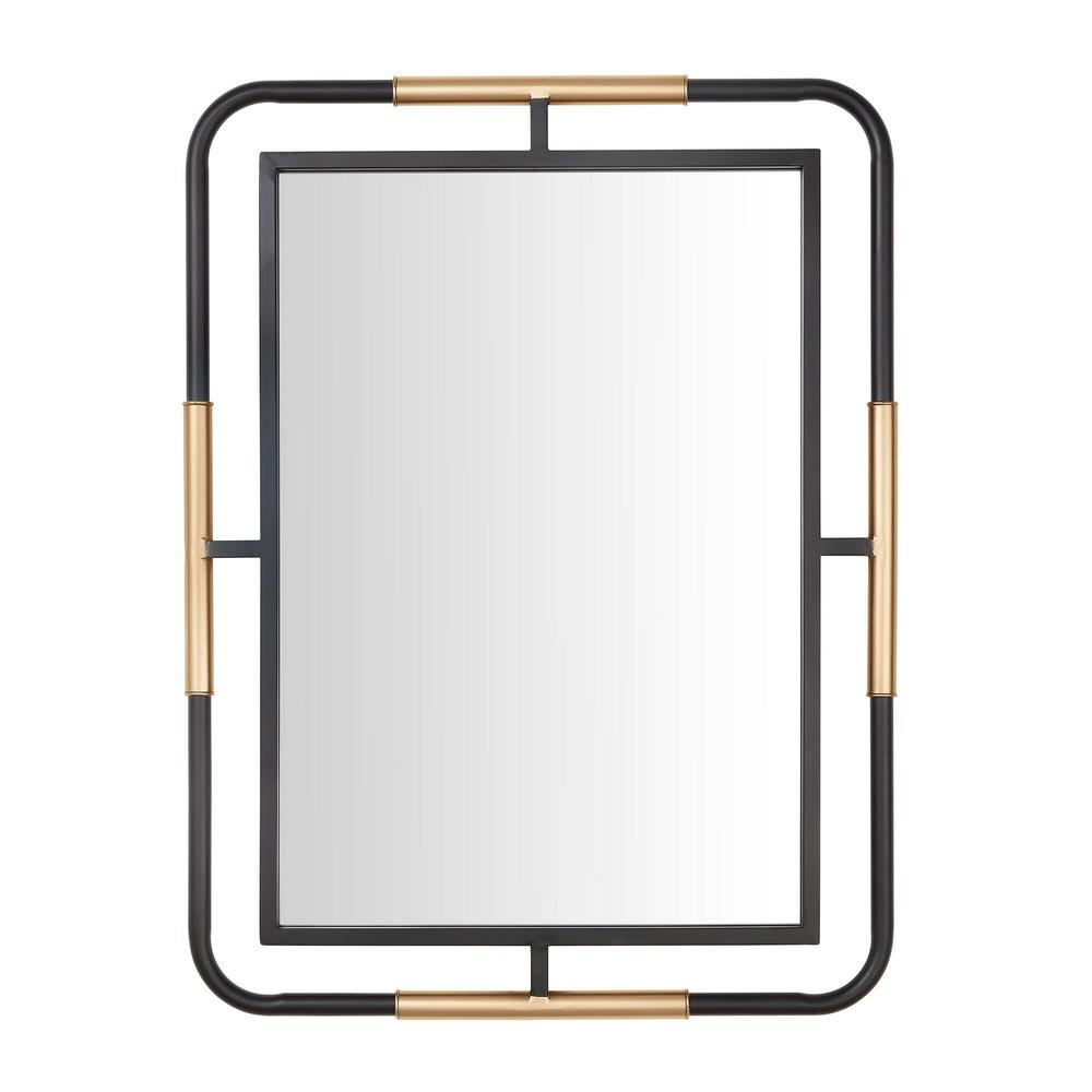 StyleWell Medium Rectangle Black & Gold Modern Accent Mirror (32 in. H x 24 in. W) was $99.0 now $45.43 (54.0% off)