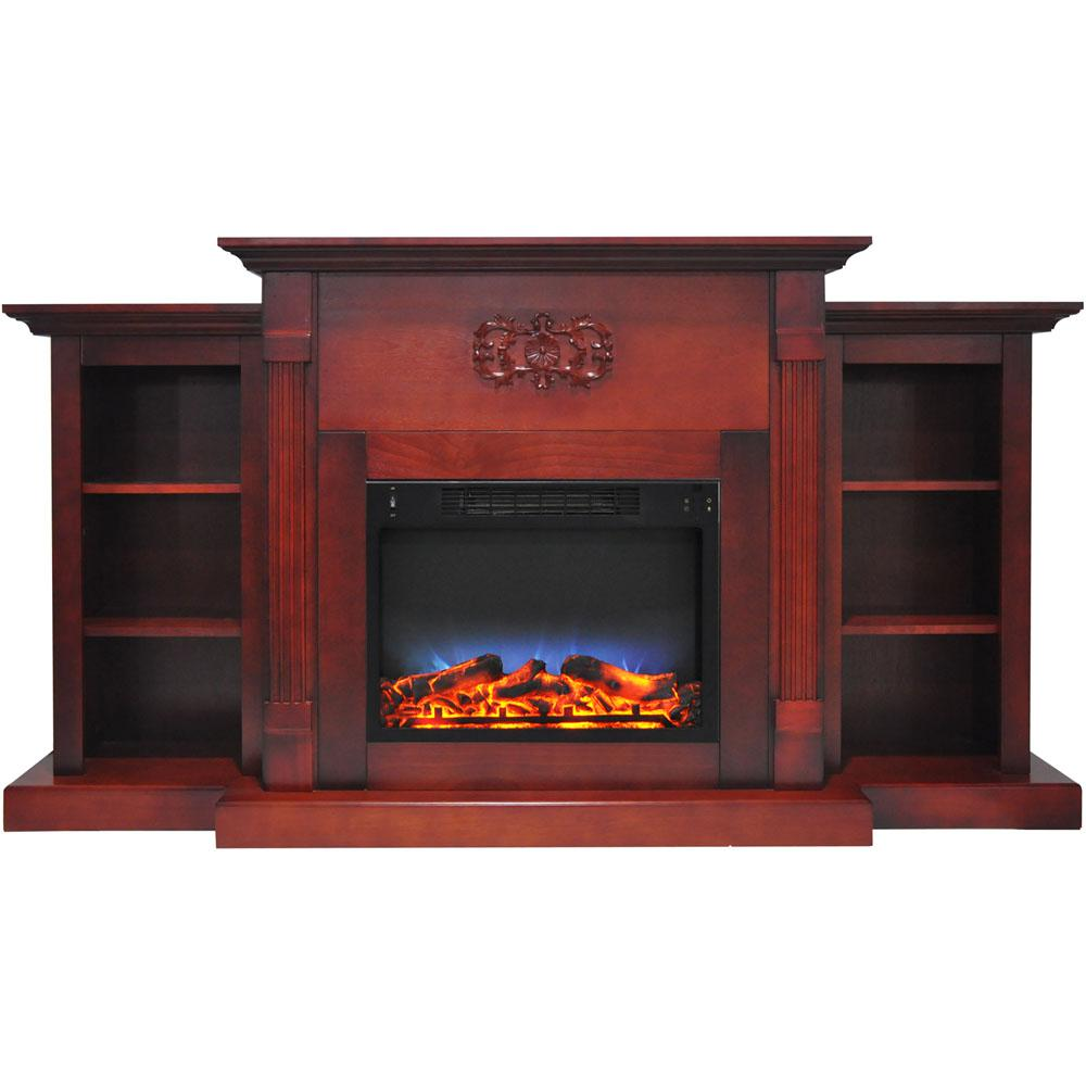 Classic 72 in. Electric Fireplace in Cherry with Bookshelves and a