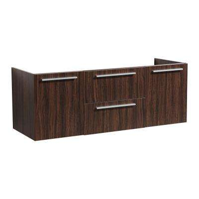 Opulento 54 in. Double Bathroom Vanity Cabinet Only in Walnut