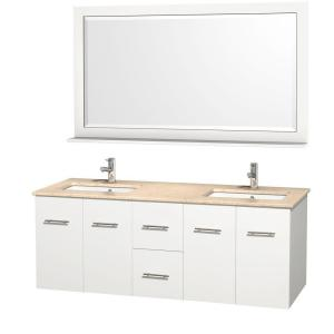 Wyndham Collection Centra 60 inch Double Vanity in White with Marble Vanity Top in Ivory and Under-Mount Sink by Wyndham Collection