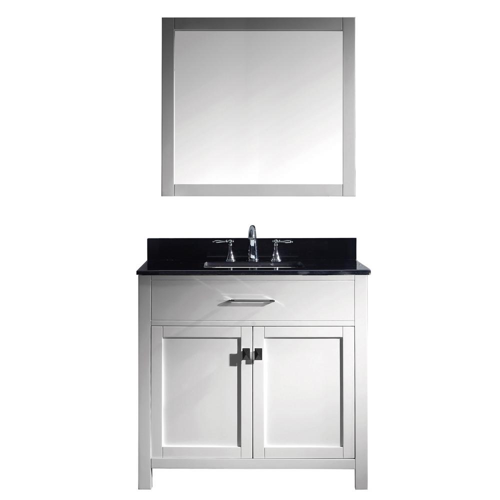 Virtu USA Caroline 36 in. W x 22 in. D Vanity in White with Granite Vanity Top in Black with White Basin and Mirror Faucet