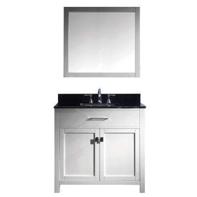 Caroline 36 in. W x 22 in. D Vanity in White with Granite Vanity Top in Black with White Basin and Mirror Faucet