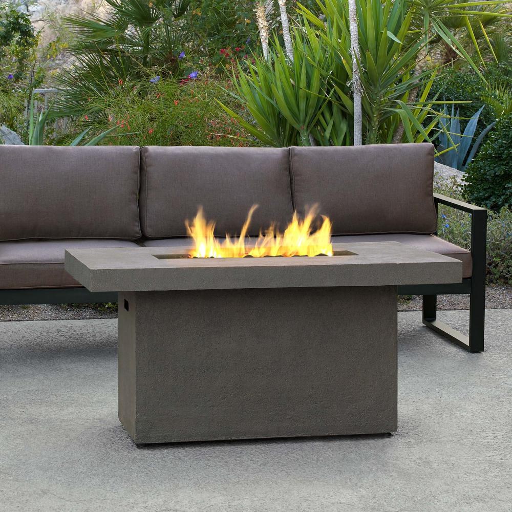 incredible Rectangular Propane Fire Pit Kit Part - 4: Real Flame Ventura 50 in. x 24 in. Rectangle Fiber-Concrete Propane Fire