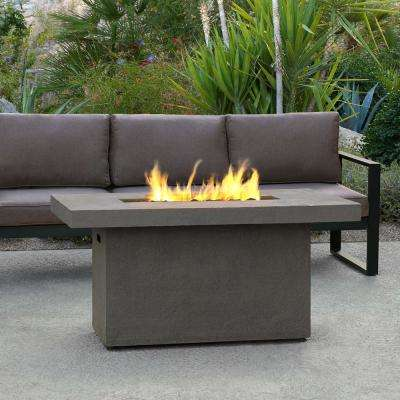 Ventura 50 in. x 24 in. Rectangle Fiber-Concrete Propane Fire Pit in Glacier Gray with Natural Gas Conversion Kit