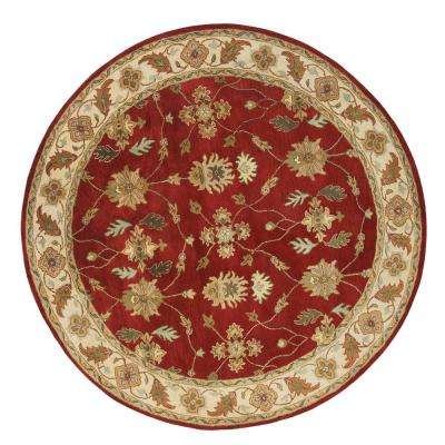 Charisma Red/Ivory 8 ft. Round Indoor Area Rug