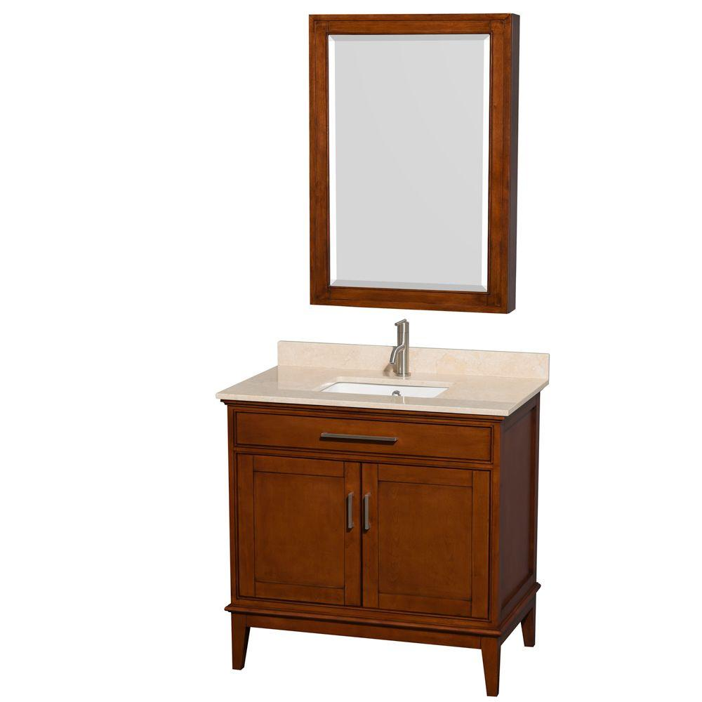 Wyndham Collection Hatton 36 in. Vanity in Light Chestnut with Marble Vanity Top in Ivory, Square Sink and Medicine Cabinet