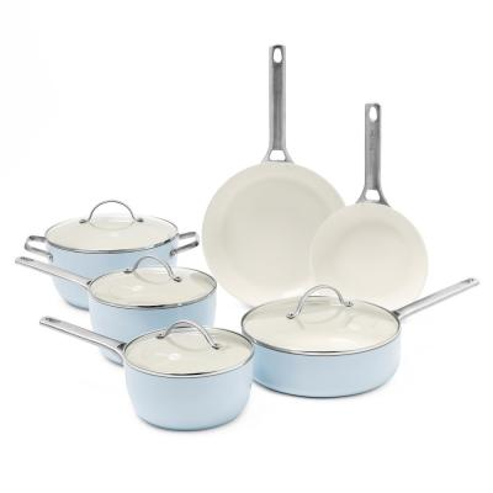 Padova 10-Piece Aluminum Ceramic Nonstick Cookware Set in Light Blue