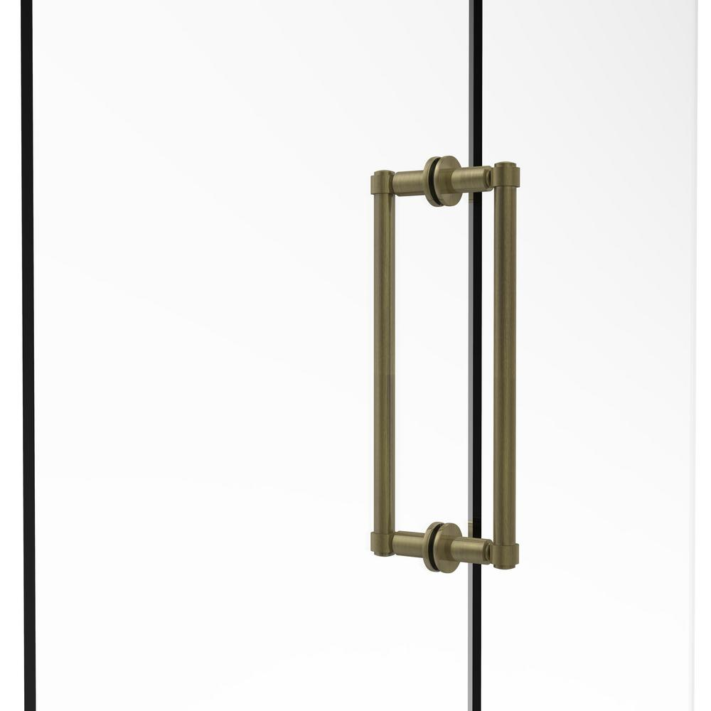 Contemporary 12 in. Back-to-Back Shower Door Pull in Antique Brass