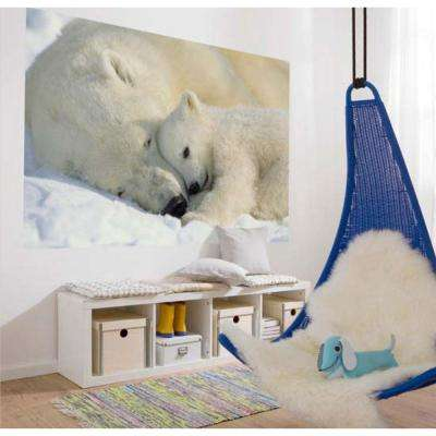 50 in. x 72 in. Polar Bears Wall Mural
