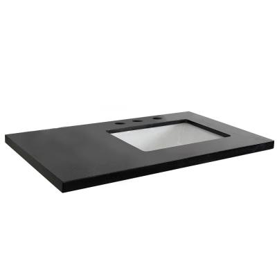 37 in. W x 22 in. D x 2 in. H Black Granite Vanity Top with Right Side Rectangular Sink