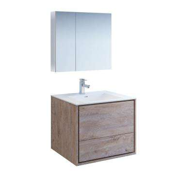 Catania 30 in. Modern Wall Hung Vanity in Rustic Natural Wood with Vanity Top in White with White Basin,Medicine Cabinet