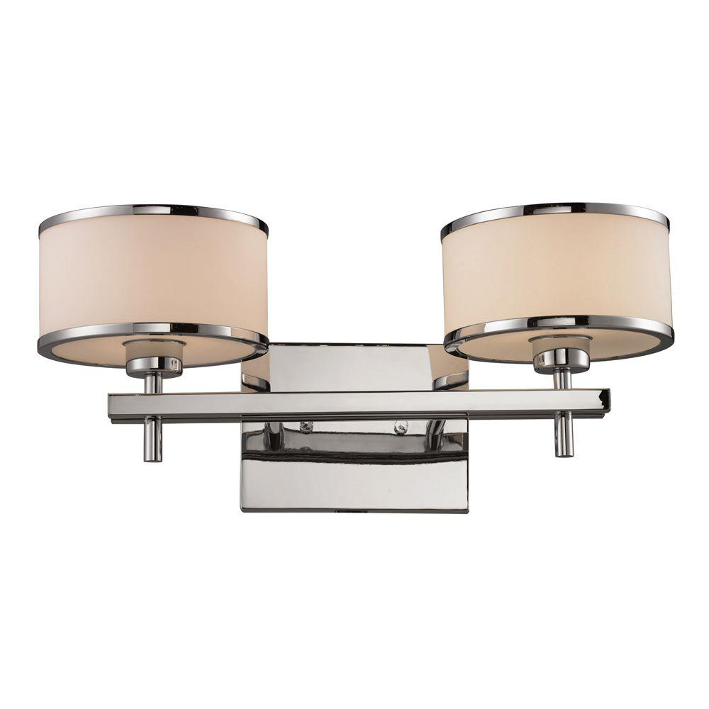 Titan Lighting Utica 2 Light Polished Chrome Wall Mount Bath Bar Light Tn 8012 The Home Depot