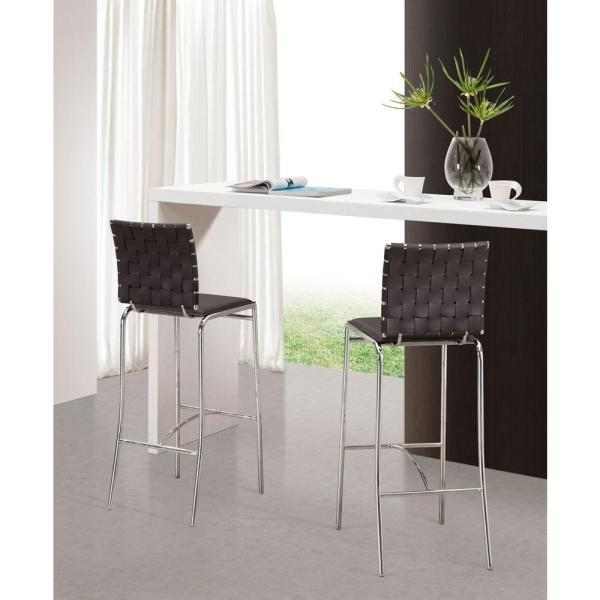 ZUO 29 in. White Bar Stool (Set of 2)