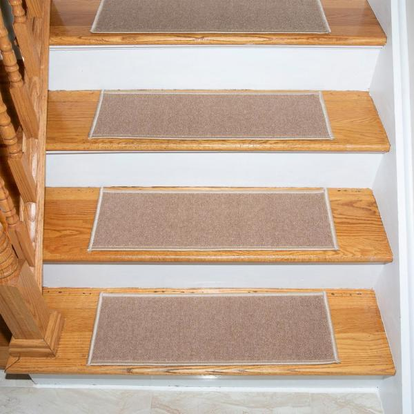 Escalier Collection Beige 8.5 in. x 26.6 in. Rubber Back Stair Tread (Set of 13)