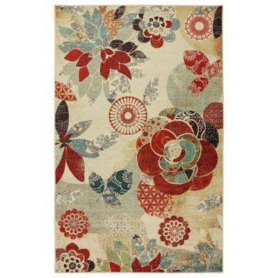 Geo Floral Pattern Multi 5 ft. x 8 ft. Area Rug