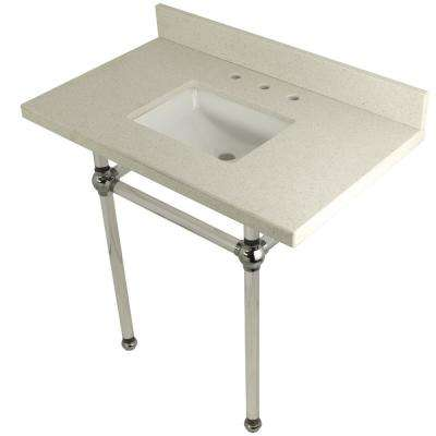 Square Sink Washstand 36 in. Console Table in White Quartz with Acrylic Legs in Chrome