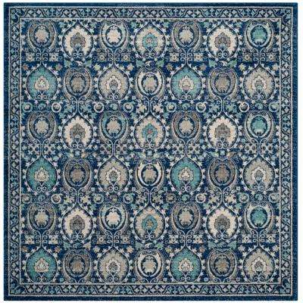 Evoke Blue/Ivory 7 ft. x 7 ft. Square Area Rug