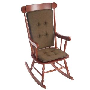 Klear Vu Embrace Chocolate Tufted Rocking Chair Cushion Set with Gripper Back and Ties by