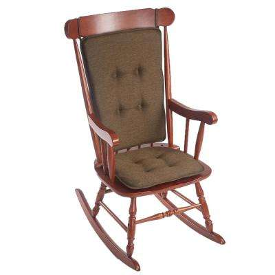 Klear Vu Embrace Chocolate Tufted Rocking Chair Cushion Set with Gripper Back and Ties