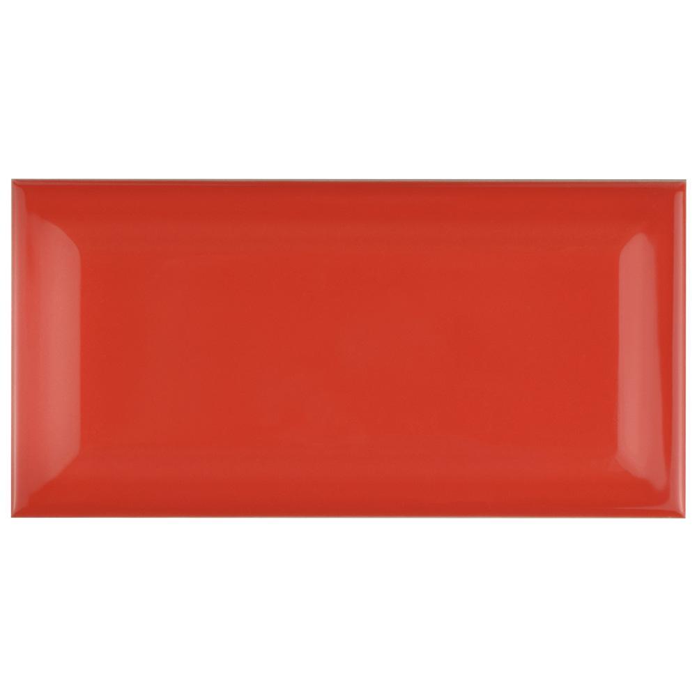 Merola Tile Park Slope Beveled Apple Red 3 in. x 6 in. Ceramic Subway Wall Tile (19.18 sq. ft. / case)
