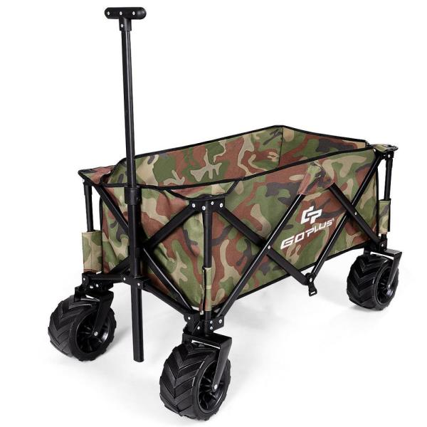 5 cu. ft. Metal Plastic Folding Garden Wagon in Camouflage